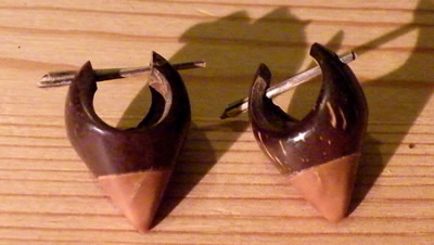 coconut and wood earring